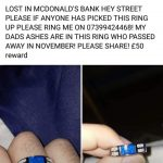 Lost ring in Mc Donald's Hey Street. Sentimental Value